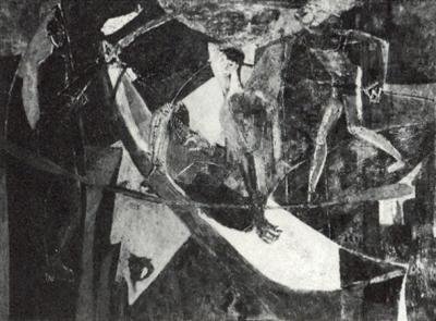 La pirogue - Huile sur toile. 1950 (65x92)