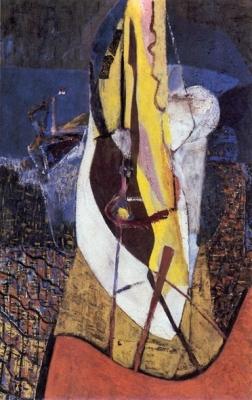 Le voilier - Huile sur toile. 1950 (98,5x63,5)