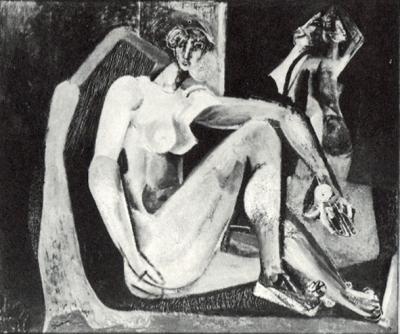 Nu assis - Huile sur toile. 1950 (96x114)