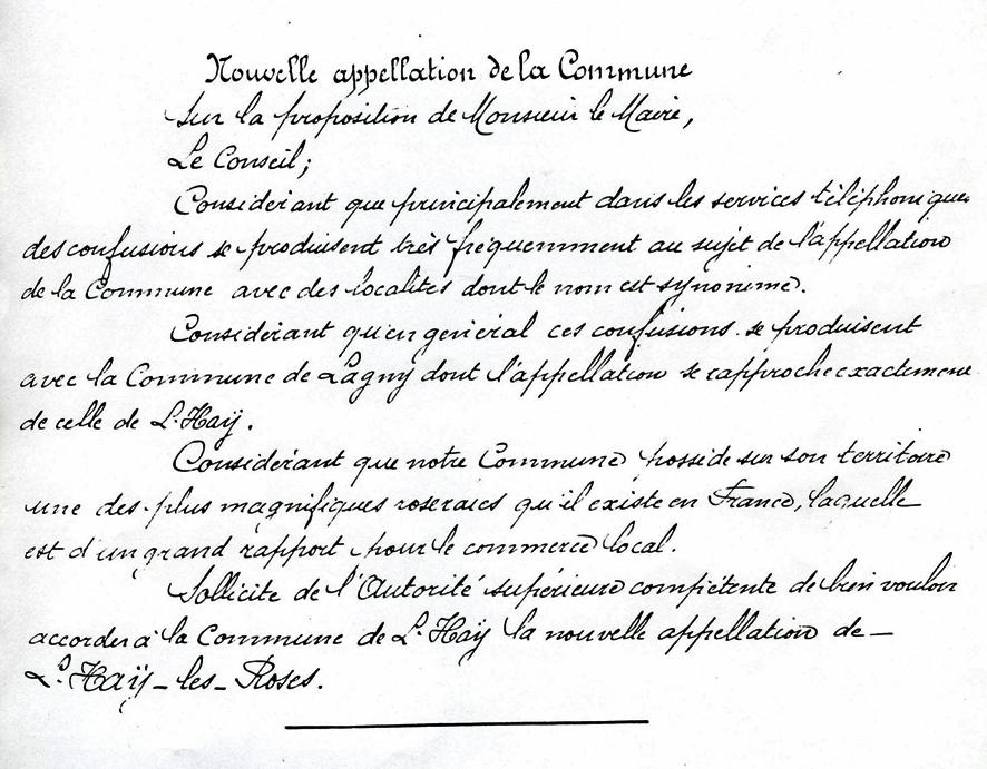 1913 L'Haÿ - Demande de changement de nom_wp