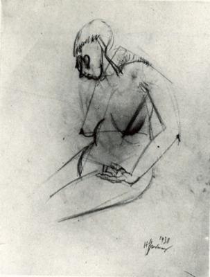 Étude de nu - Dessin mine de plomb. 1938 (23,5x25)