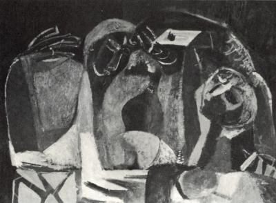 Le musicien à l'enfant - Huile sur toile. 1950 (65x50)